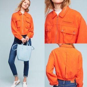 Anthropologie Orange Bomber Jacket